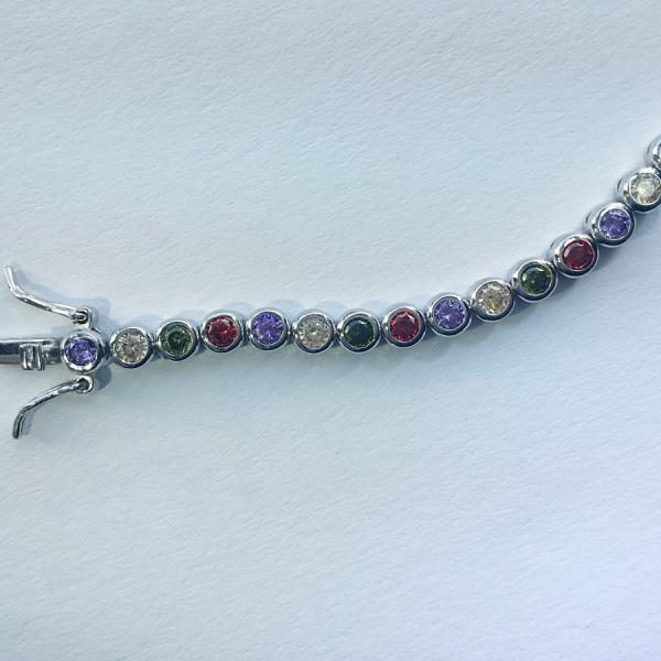 Tennis Bracelet Rainbow 18 cm – Colorful stones, round setting